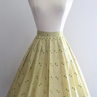 1950s Novelty Skirt / Vintage 50s Yellow Green Cotton Full Pleated High Waist Skirt Atomic Geometric Embroidery / Rockabilly Skirt - XXS/XS