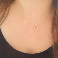 Good Karma Simple Necklace, Karma Layering Necklace, Gold Filled Eternity Necklace, Circle Necklace, Minimalist and Everyday Necklace