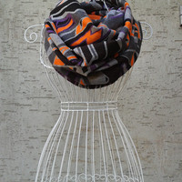 Geometric Pattern Scarf,Neon Scarves,Grey Loop Scarf,