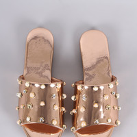 Metallic Pearl Embellished Band Open Toe Slip-On Flat Sandal