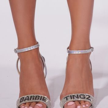 Barbie Tingz Sliver Sparkle Stiletto Sandals