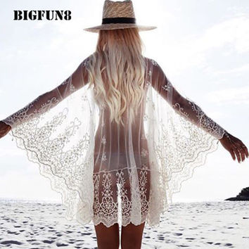 BIGFUN8 New Women Sexy Beach Cover Up Embroidery Lace See Through One Size Sarong Tunic Ruffles Robe De Plage Sun Dress ZY02