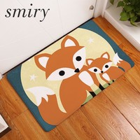 Smiry welcome home waterproof door mats cartoon cute fox cozy fox family pattern carpets bedroom foot pad home decor cratfs rugs