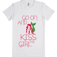 Go On And Kiss Her Tee-Female White T-Shirt