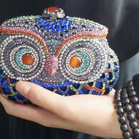 Blue Owl Clutch Bag