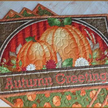 Quilted Fall Placemat Autumn Greetings 801