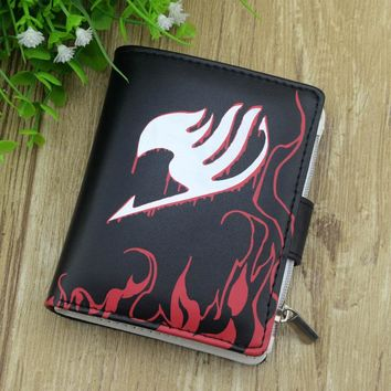 Fairy Tail Anime Leather Wallet Black Color Button Purse Women Men Cool Money Bag 3D Colorful Printed With for Gift