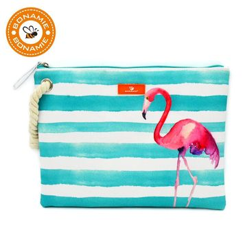 BONAMIE Wet Bikini Bag Waterproof Lining Beach Bag Women Fashion Handbag Mermaid Flamingo Watermelon Print Hemp Rope Clutch Bags