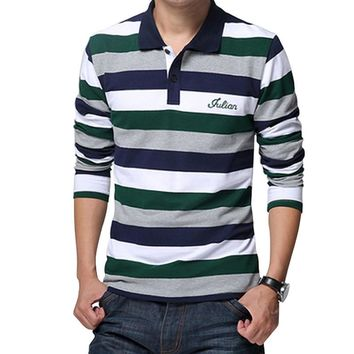 Summer Letters Embroidered Men Strip Polo Shirt