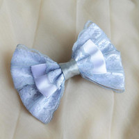 Hair bow - french clip - silver grey and white - goth dark lolita harajuku romantic princess fashion kawaii costume uniform bow - nekollars