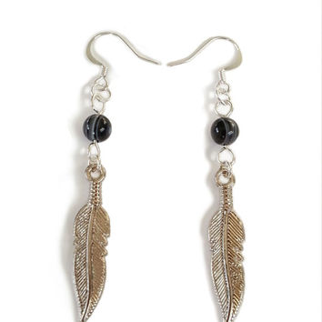 Feather Earrings, Long Earrings, Long Feather, Nature Jewelry, Silver and Black, Silver Feather, Indian Jewelry, Native American, Gift