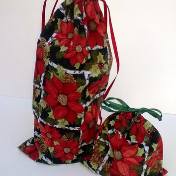 Bright Red Poinsettia Gift Bags Christmas, Upcycled Fabric, Reusable
