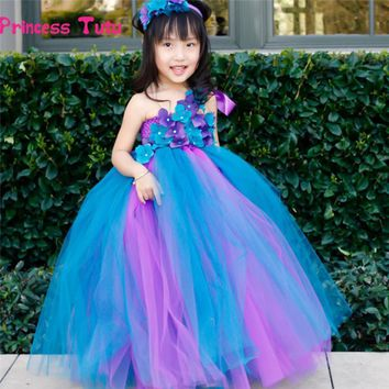 Flower Girl Peacock Tutu Dress Single Shoulder Strap Baby Kids Party Birthday Wedding Pageant Tulle Dress Princess Costume 2-14Y