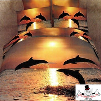 3D Bed Set Dolphin Sunset Bedding Set and Quilt Cover