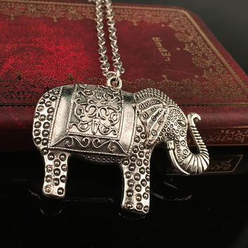 Elephant Ethnic Necklace Africa Elephant Pendant Sweater Long Chain Fine Necklace For Women 45CM SM6