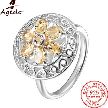 Agedo Flower Natural Citrine 925 Sterling Silver Ring Fine Jewelry Vintage Gemstone Engagement Wedding Rings for Women FR03