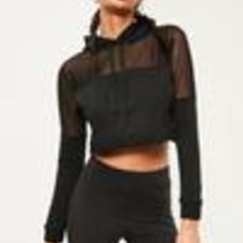 Missguided - Active Black Mesh Panel Hoodie