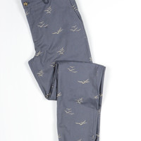 Seagulls Embroidered Twill Pants