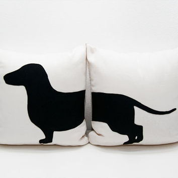 Dachshund (sausage dog) cushion covers - beige and black