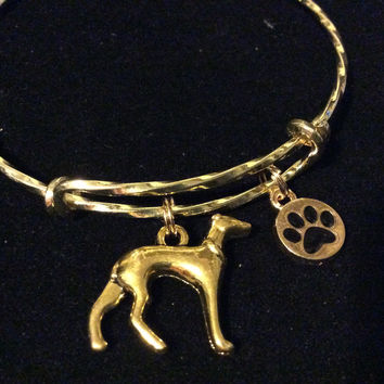Protection charm 3D Greyhound Dog Charm on a Gold Twisted Expandable Bracelet Adjustable Wire Bangle Handmade in America Dog Lover Gift Trendy