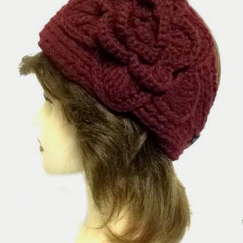 Women's Dark Burgundy Large Crochet Flower Adjustable 2 Button Stretch Headband Ear Warmer Crochet Headband
