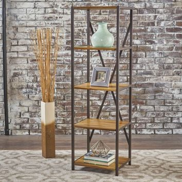 """Relee 17"""" Wide Natural Stained Acacia Wood Bookcase With Finished Iron Accents"""