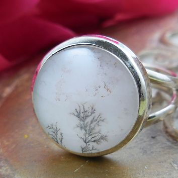Dendritic Agate Sterling Silver Ring – Size 6.5