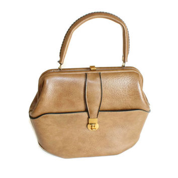 50s tan handbag. Kelly style purse. Vintage taupe handbag by Markay Bags. Mad Men fashion. Structured purse. Beige. Made in USA.