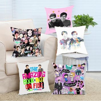 Custom Printting Pillow Cover Phil Lester and Dan Howell 16x16 18x18 20x20 24x24 inch Two Size Zippered Pillowcase Bedding Set