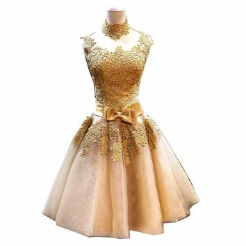 Gold Cocktail Dress Party Lace Dresses High Neck A-line Short Party Formal Gowns