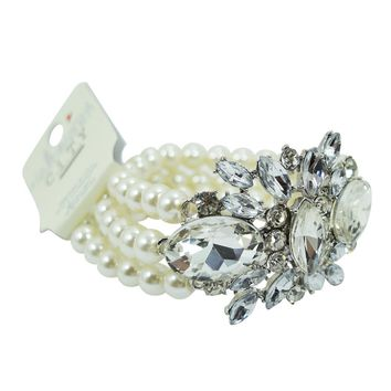 Wedding Shower White Faux Pearl Multi-strand with Crystal Flower Acceent Bracelet