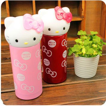 360ml Creative Cartoon Vacuum Water Bottle Thermos Mug Hello Kitty Stainless Steel Novelty Cup Sports Portable Cute Kids Thermos