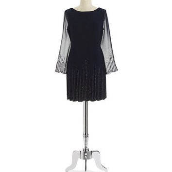 Xscape Shift Dress with Beaded Accents