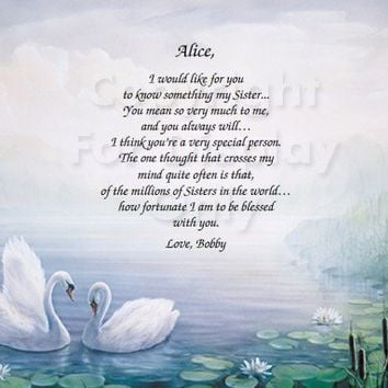 Personalized Single Name Swans 1 Gift Keepsake and Remembrance