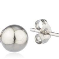 14K White Gold Ball Earring Studs with 14k Push Backs -2mm to 10mm Available