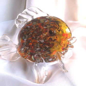 25% OFF SALE ! - Glass Art Sculpture - Large Goldfish.  Glass Fish Art.  Fish Sculpture.