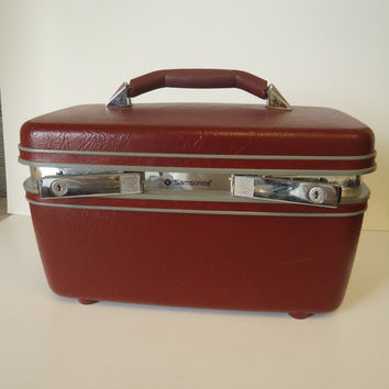 Vintage Samsonite  Profile II Train Case w Tray And Keys Cosmetic Makeup Carry On Luggage
