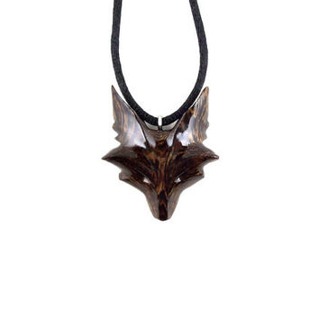 Celtic Fox Necklace, Fox Pendant, Fox Jewelry, Celtic Wooden Fox Pendant, Fox Necklace, Fox Totem Jewelry, Hand Carved Spirit Animal Pendant