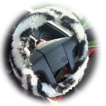 Black and white faux fur Zebra Stripe fuzzy car steering wheel cover fluffy and furry