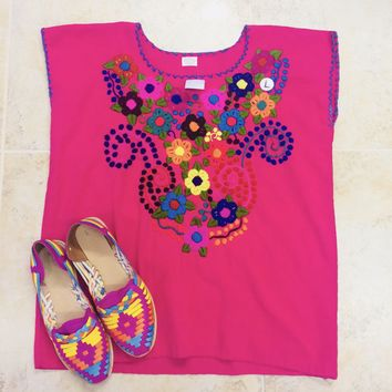 Mexican Embroidered Bouquet Blouse Hot Pink
