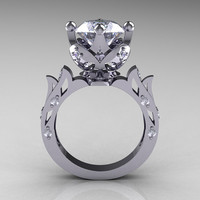 Modern Antique 14K White Gold 30 Carat Simulation by artmasters