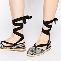 TOMS Woven Diamonds Espadrille Tie Up Sandals
