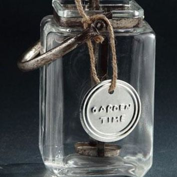 """Clear Glass Candle Holder Jar with Distressed Handle - 6"""" L x 5.5"""" W x 7"""" H"""
