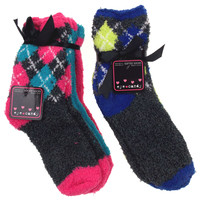 6 Pairs Eye Candy Cozy Fuzzy Softee Socks Women Size 9-11 Pink Blue Ultra Soft