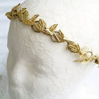 Gold leaf crown Halo crown Greece headband Boho flower crown Circlet headpiece Flower crown Woodland crown Bridal headpiece Floral crown