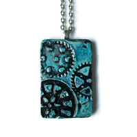Steampunk Gears Pendant Necklace in blue and silver, hand painted art pendant, rustic industrial jewelry for men or women
