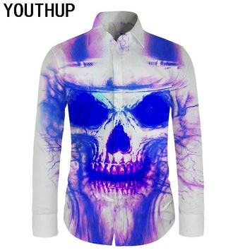 3D Print Skull Slim Fit Shirts Long Sleeve Fashion Streetwear Men Blouse Cool Hip Hop Tops