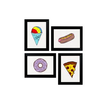 Gallery Wall Collage 4 Prints Framed Wall Hangings - Junk Food Set