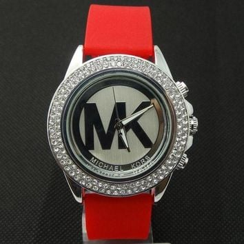 ONETOW MK Michael Kors men and women new stylish fashion candy strap F-SBHY-WSL Red Watchband + Silver Dila + Silver Case