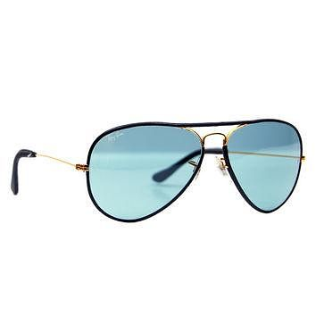 Vintage Ray Ban Bausch and Lomb Back Leathers Blue Changeable 58 mm Sunglasses
